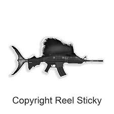 Sailfish Ar15 Sticker Marlin Sail Fish Fishing Rifle Gun Boat Car Window Decal Ebay