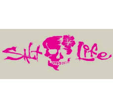 Salt Life Signature Skull Flower Decal Pink Sad926