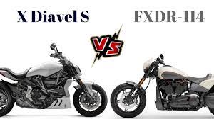 x diavel s vs harley davidson fxdr 114