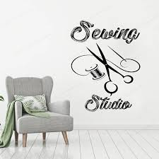 Sewing Studio Wall Sticker Vinyl Tailor Shop Wall Decal Atelier Window Decor Removable Wall Art Mural Jh332 Wall Stickers Aliexpress