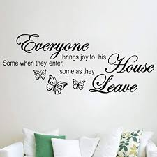 Amazon Com Everyone Brings Joy To His House Wall Sticker Butterflies Decal Quote Art Vinyl Decor Removable Decoration For Bedroom Living Room Arts Crafts Sewing