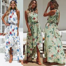 sundress women asymmetric maxi dress
