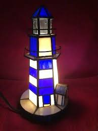 stained glass lighthouse accent light