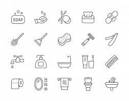 set of hygiene line icons premium vector