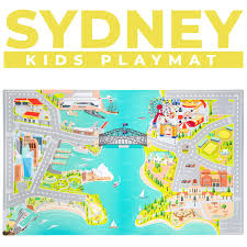 Kids Play Mats For Toddlers Educational Road Car Rug With Map Of Sydney City Large 75 X 45 Floor Playmat For Children Ideal Kids Rugs For Playroom Bedroom Activity Room For