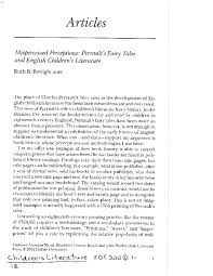 PDF) Misperceived Perceptions: Perrault's Fairy Tales and English  Children's Literature | Ruth B Bottigheimer - Academia.edu
