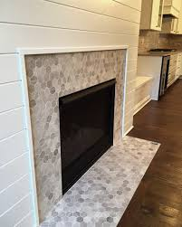 hex mosaic tile fireplace surround