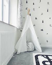 Kids Child Bedroom Monochrome Tipi Tent Wall Stickers Grey Carpet Kids Child Bedroom Monochrome Tipi Tent Gray Bedroom Grey Carpet Green Interior Decor