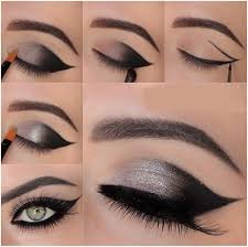 silver black cat eye makeup tutorial
