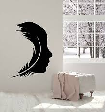 Vinyl Wall Decal Feather Bird Girl Face Silhouette Stickers 3317ig Ebay