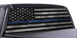 Fgd Brand Truck Rear Window Wrap Thin Blue Line American Flag Perforated Vinyl Decal Family Graphix Llc