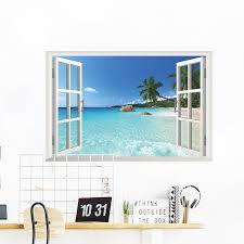3d Fake Window Wall Stickers Coconut Tree Ocean Beach Home Room Decor Art Poster