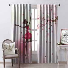 Amazon Com Tapesly Kids Room 99 Blackout Curtains Ballet Butterfly Fairy Ballerina Princess Dancer Flowers Tree Branch Floral Girls Party Print For Bedroom Kindergarten Living Room W42 X L63 Inch Home Kitchen