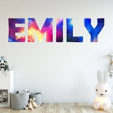Vwaq Personalized Outer Space Name Wall Decal Galaxy Kids Room Name Wa