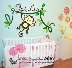 Personalised Kids Name Cheeky Monkey Wall Stickers Vinyl Decal Nursery Decor Ebay