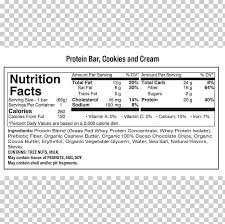 protein bar nutrition facts label