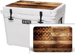 Amazon Com Usatuff Wrap Cooler Not Included Lid Kit Fits Yeti 35qt Tundra Protective Custom Vinyl Decal Usa Flag Wood Sports Outdoors