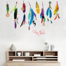 Colorful Feather Wall Paper Art Living Room Bedroom Poster Wall Stickers Home Decor Feather Pendant Wall Mural Wall Mural Wall Stickerfeather Wall Aliexpress