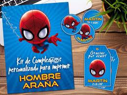 Kit Imprimible Hombre Arana Spiderman Personalizado Candybar