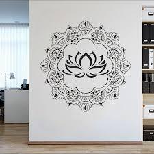 Gold Mandala Wall Decals For Bedroom Wall Decor Mehndi Sticker Yoga Studio Decoration Lotus Flower Decal Interior Murals Lc1663 Wall Stickers Aliexpress