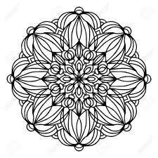 Hand Tekening Doodling Mandala Kleurplaat Geisoleerde Royalty