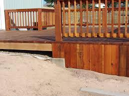 deck fascia along uneven ground