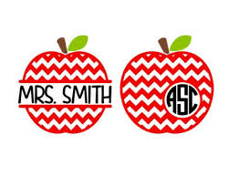 Chevron Apple Monogram Decal Teacher Monogram Decal Tumbler Etsy