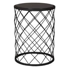black metal stool side table