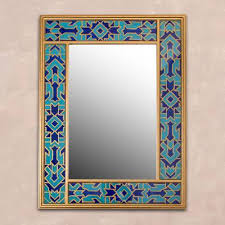 reverse painted glass wall mirror in
