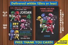 Power Rangers Invitation Free Thank You Card Power Rangers