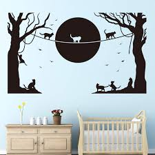 Vodoe Cat Wall Decals Animal Wall Decals Cartoon Bird Tree Moon Silhouette Boys Girls Nursery Baby Stickers Suitable For Family Living Room Vinyl Art Home Decor Black 26 7 X 15 7 Inches