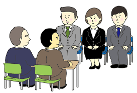 就職活動の集団面接のイラスト - イラストの里