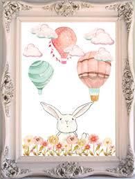 Bunny Rabbit Baby And Kids Room Wall Art Print Hot Air Balloon Nursery Print Ebay