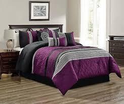 5pc twin purple gray black white scroll