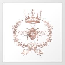 queen bee in rose gold pink art print