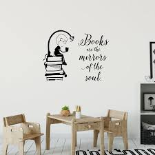 Boy Reading Wall Decal Lovely Quote Vinyl Wall Sticker Kids Room Design Simple Lines Silhouette Bookstore Library Mural S653 Buy At The Price Of 5 98 In Aliexpress Com Imall Com