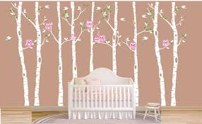Children Wall Decal Birch Tree Wall Decal Owls Tree Forest Etsy