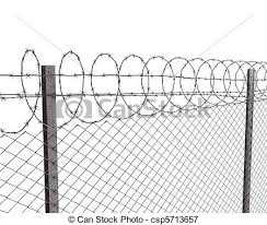 Chainlink Fence With Barbed Wire On Top Isolated On White Background