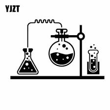 Yjzt 18 1cm 11 5cm Chemical Lab Science Chemistry Vinly Decal Decor Car Sticker Black Silver C27 0317 Leather Bag