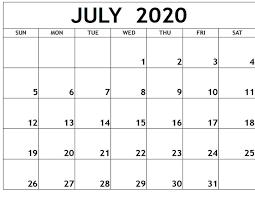 July 2020 Free Printable Calendar Free ...
