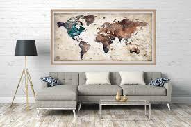 World Map Wall Art World Map Canvas World Map Poster World Map Watercolor World Map Art Abstract Watercolor Map Travel Map Push Pin Map