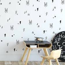 Rock And Roll Bolt Wall Sticker Bedroom Playroom Music Hand Star Rock On Roll Wall Decal Kids Room Classroom Vinyl Home Decor Wall Stickers Aliexpress