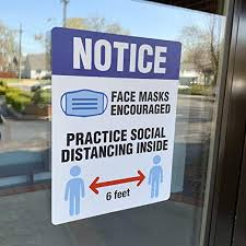 Amazon Com Face Mask Signs For Businesses And Schools Social Distancing Window Decal Wear A Mask Safety Stickers 8 5 X 11 Removable Vinyl Decal 5 Per Pack Kitchen Dining