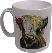 Amazon.com: Mandy Anderson Willow Daisy Highland Cow Coo Print Mug ...