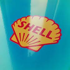 Shell Vintage Logo Sticker By Car Bone Flatsix Design Choice Gear