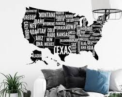 Usa Map Wall Decal Etsy