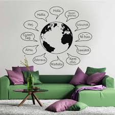 Hello Text Words Phrases Sentences Letters Language Wall Decor World Globe Map Earth Decal Window Vinyl Sticker Handmade A431 Wall Stickers Aliexpress
