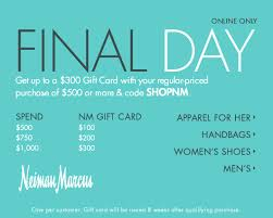 final day get up to a 300 gift card