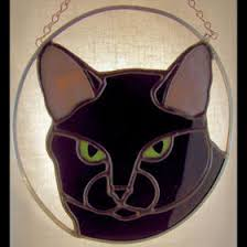 black cat pattern for stained glass