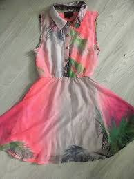pink tropical print uk 10 fairy kei